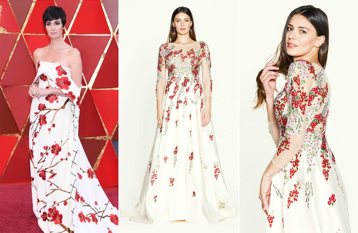 Abito bianco con fiori rossi Paz Vega noleggio